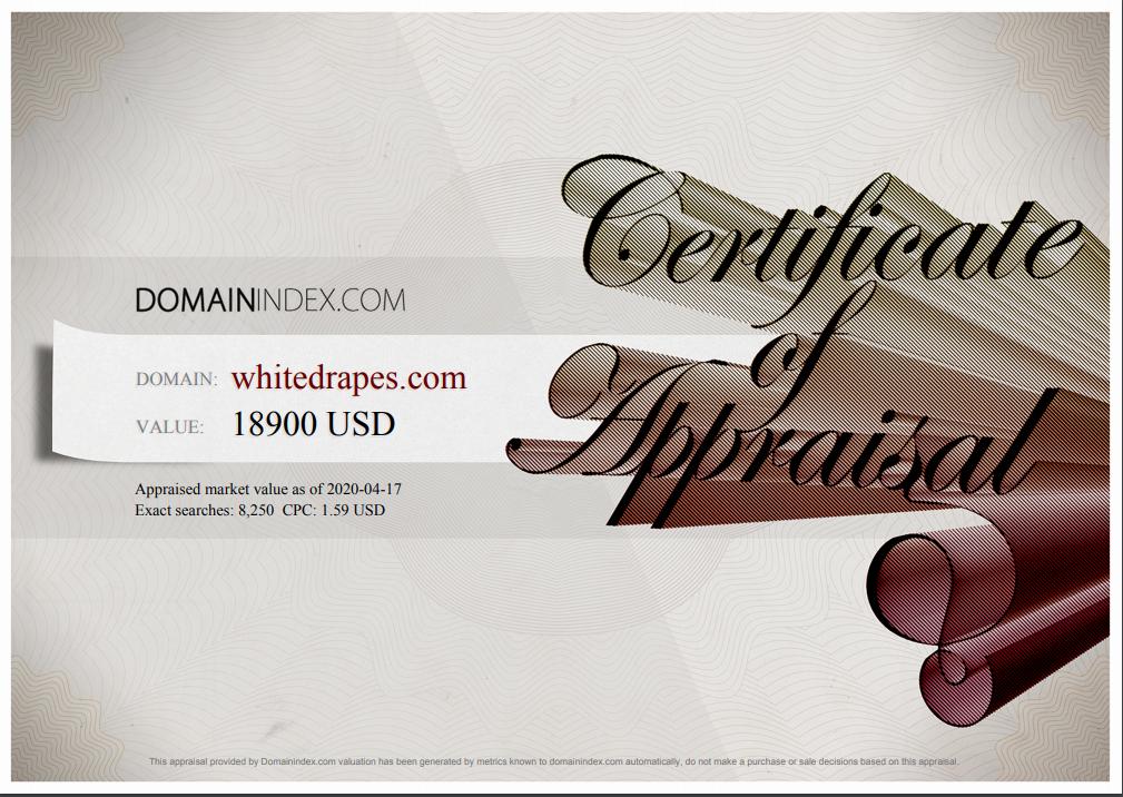 WhiteDrapes.com Appraisal